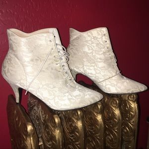 Shoes - Vintage White Lace Booties.